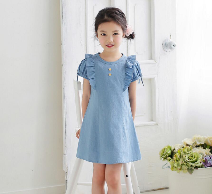 New Summer Jean Dress For Girls Princess Children font b Baby b font Cute Denim Clothing
