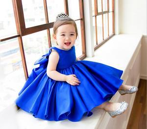 Бальное платье для девочек, бальное платье из Синего атласа на 1 год рождения, вечерние платья принцессы с цветами для девочек, свадебная дет...