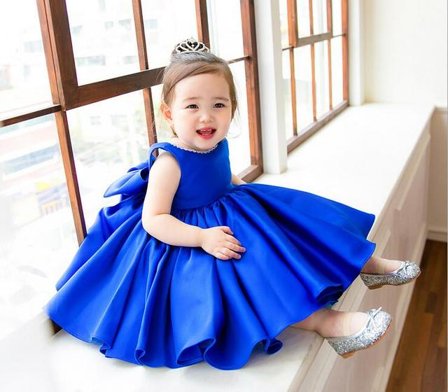Top Quality Blue Satin Baby Ball Gown 1 Year Birthday Dress Flower ...