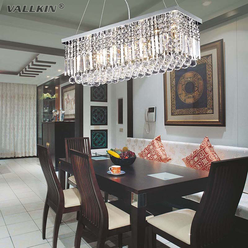 Vallkin Moderne Kristall Kronleuchter Rechteckige Led Pendelleuchte Innen Kunst Deco Leuchten Fr Esszimmer Wohnzimmer Hotel