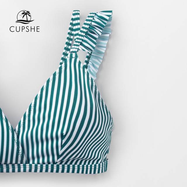 CUPSHE Cyan And White Stripe Double Straps Ruffle Bikini Sets Women Sweet Two Pieces Swimsuits 2020 Girl Beach Bathing Suits 3