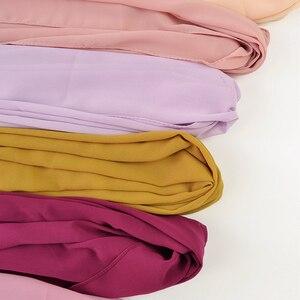 Image 5 - 10 pz/lotto donna solid plain bolla chiffon hijab sciarpa avvolge morbido lungo islam foulard scialli musulmani georgette sciarpe hijab