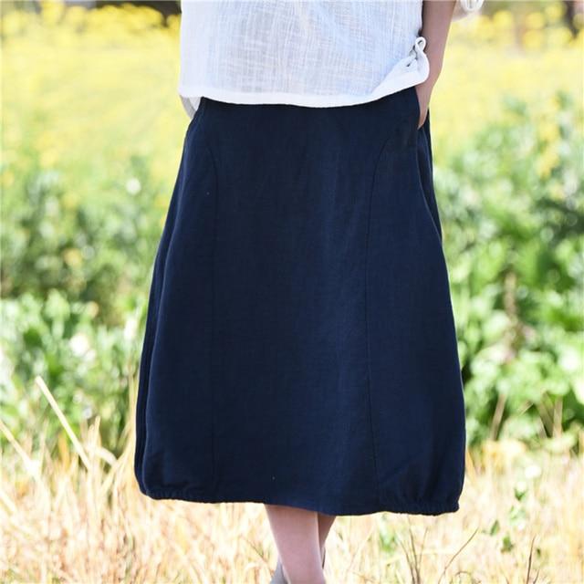 0d6d7d85ab3f3 Women Skirts Cotton Linen 2018 Autumn Spring New Casual Loose Elastic Waist  Skirt Brief Simple Vintage