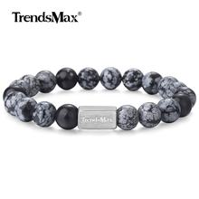 Natural Beads Bracelet Stainless Steel Wristband Stretch Beaded Chain Bracelet for Mens Womens Snowflake Obsidian Stone TBB00117(China)