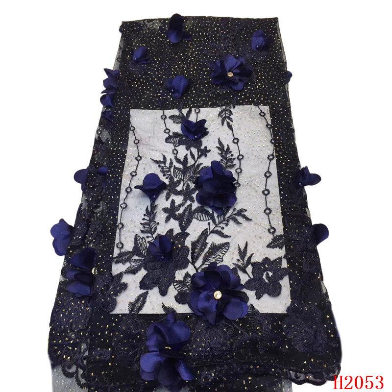 Navy Blue High Quality African Lace Nigerian Tulle Lace Fabrics 3d Flowers Embroidery Beaded French Lace Fabric for Lady HX2053Navy Blue High Quality African Lace Nigerian Tulle Lace Fabrics 3d Flowers Embroidery Beaded French Lace Fabric for Lady HX2053
