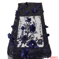 Navy Blue High Quality African Lace Nigerian Tulle Lace Fabrics 3d Flowers Embroidery Beaded French Lace Fabric for Lady HX2053