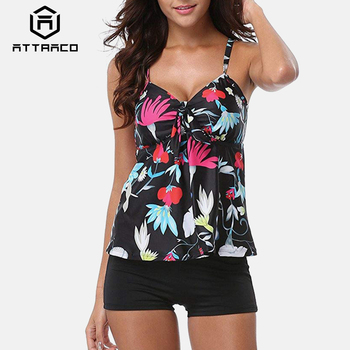porcelain print self tie bikini set Attraco Tankini Set Women Swimsuits Retro Floral Print Swimwear Tie Front Bikini Bathing Suit Beach Wear