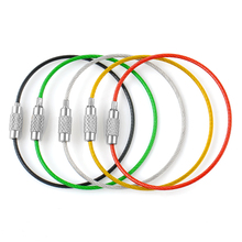 5PC Stainless Steel Wire Keychain Cable Rope Key Holder Keyring 5 Colors Key Chain Rings Women