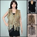 3 Colors Top Sales 2014 New Design Knitted Rabbit Fur Vest  For Women With Tassel and No Collar chaleco flecos