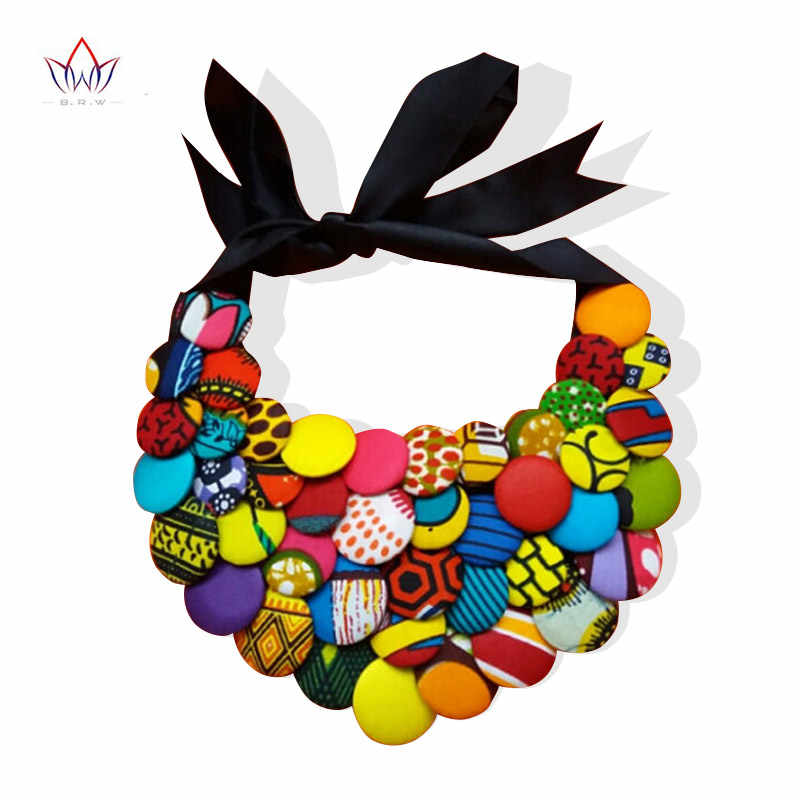 2019 Hot Sale Ankara African Multi Strand Color Button Necklaces & Pendants for Women Choker Statement Necklace for Gift WYA055