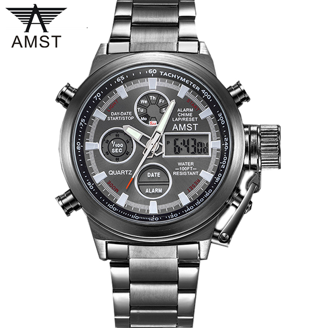 AMST Famous Luxury Brand Mens Watches Digital LED Military Watch Men Fashion Casual sports Electronics Man Wrist watches Relojes