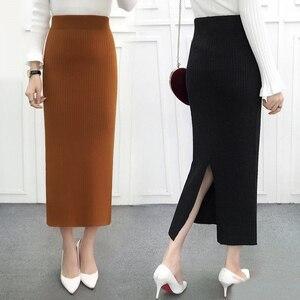 Image 2 - Kobiety z powrotem rozcięcie Bodycon elegancka spódnica ołówkowa Midi jesień zima z dzianiny w stylu Casual spódnica spódnice z wysokim stanem kobiet Jupe Femme Faldas
