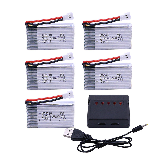 5PCS 3.7V 600mAh Lipo Battery Pack + 5 in1 charger for Syma X5 X5C X5S X5SC X5SW RC quadcopter Remote controlled aircraft