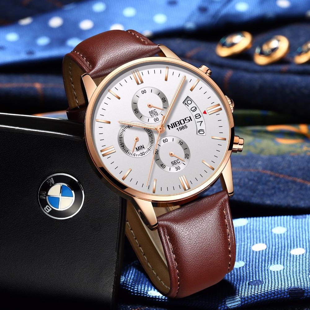 Relojes de hombre NIBOSI Relogio Masculino, relojes de pulsera de cuarzo de estilo informal de marca famosa de lujo para hombre, relojes de pulsera Saat 44
