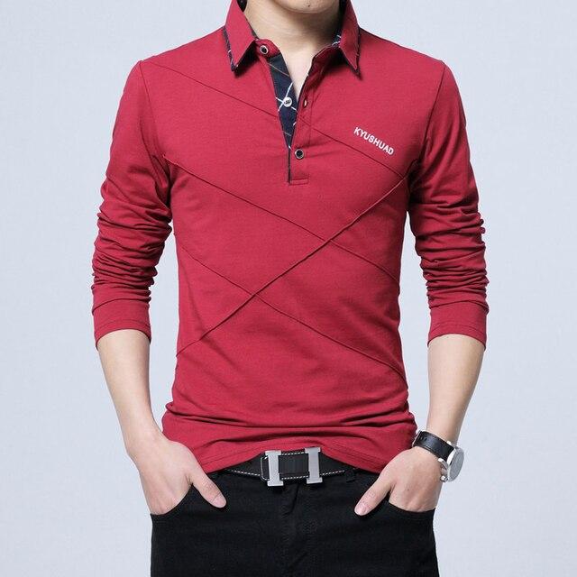Men's Polo Shirt Long Sleeve Casual Male Shirt 3