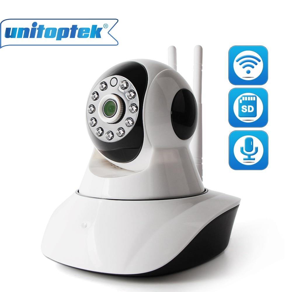 купить UNITOPTEK PTZ 2MP HD 1080P Wifi IP Camera IR-Cut Night Vision Two Way Audio CCTV Surveillance Smart Camera SD Card View XMEye по цене 2016.13 рублей