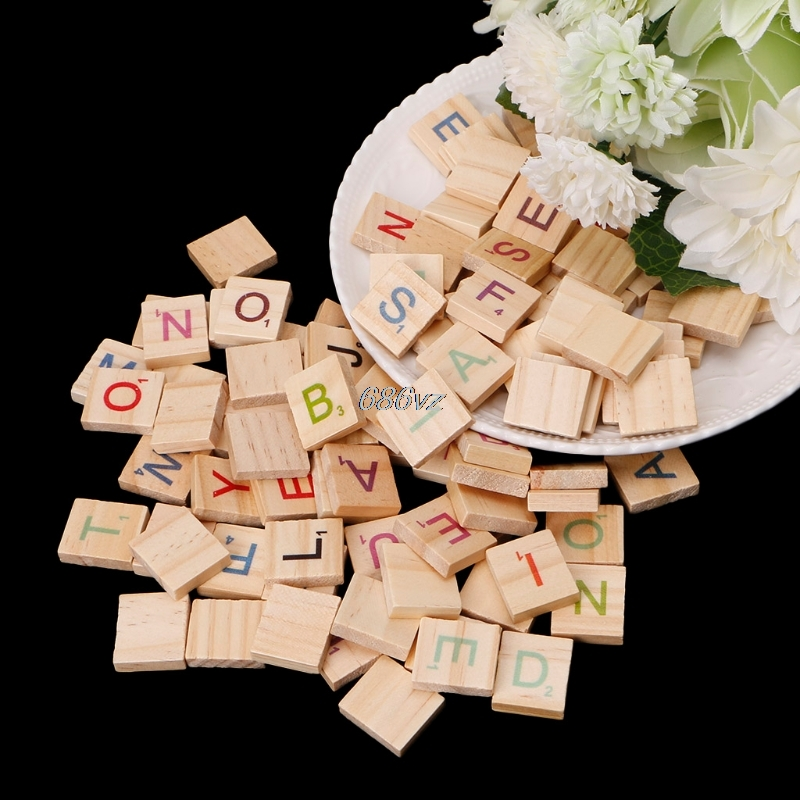100Pcs/Pack Wooden Scrabble Tiles Colorful Letters Numbers for Crafts Wood Alphabet Toy N24 Drop Ship