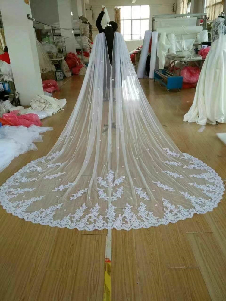 White Ivory New Cathedral Length Bridal Cape Cloak Lace Edge Wedding 102