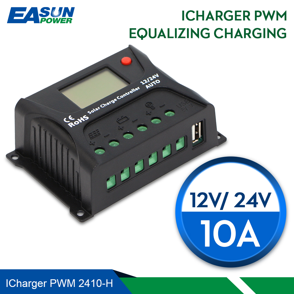 EASUN POWER Solar Charge Controller 10A PWM Solar Charge Controller LCD USB 5V Solar Regulator 12V 24V Voltage Regulator diy 5v 2a voltage regulator junction box solar panel charger special kit