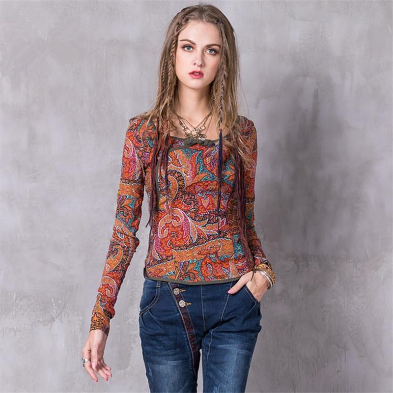 Vintage Blouse Shirt Women Blouse 2017 Boho New Viscose Nylon Shirt Floral Print Frog Knot O-Neck Skin Friendly Slim Shirt Tops
