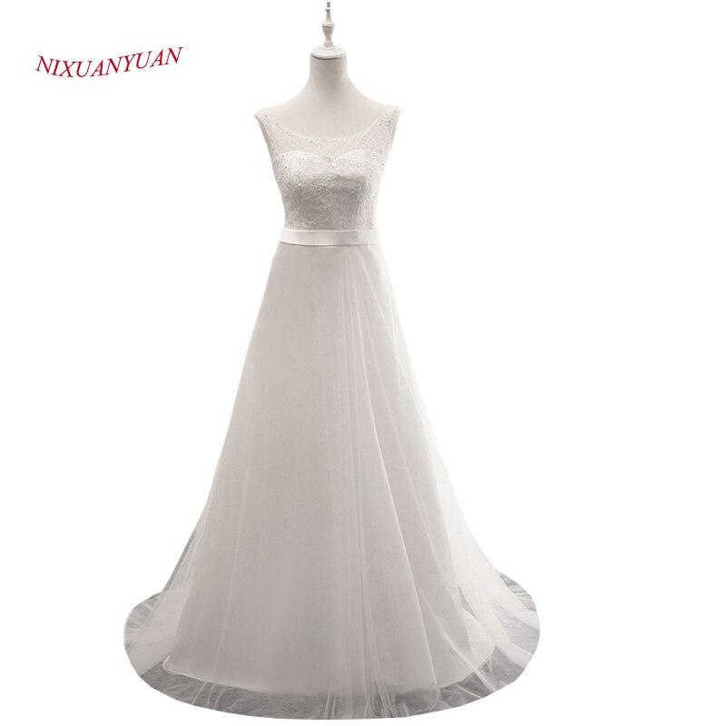 Egyszerű elegáns elefántcsontparti esküvői ruha 2017 O nyakú gyöngyös menyasszonyi ruhák szárnyakkal A vonal melletti mellény 2017