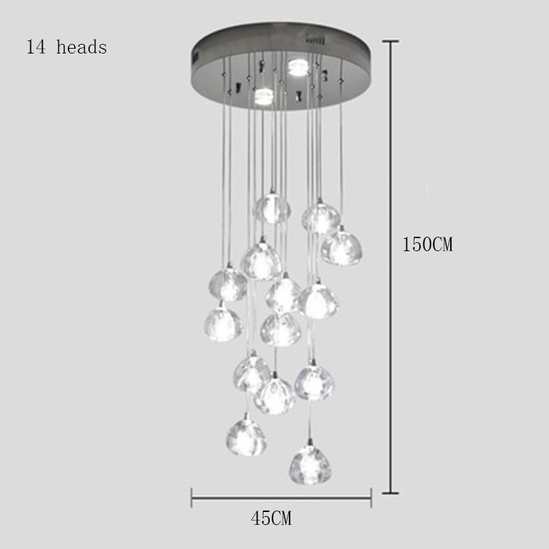 Современные светодиодные подвесные светильники, Хрустальная Подвесная лампа, составная лестница для зала, длинная лестница для гостиной, Подвесная лампа, освещение - Цвет корпуса: 14 Heads