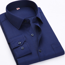 2017 Big size US 4XL 5XL 6XL Classical Design Cotton Men Dress Shirts Business Formal Male Social Long Sleeve Pure Color Shirts