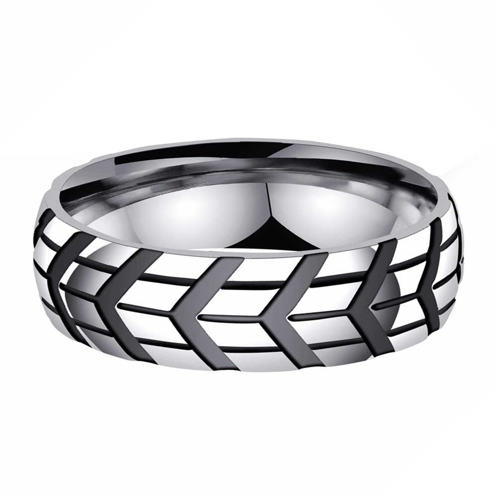 New and High Quality Cocktail Ring Smooth Polished Stainless Steel Tire Design Party Accessory for Man Anniversary Wedding Gifts