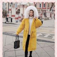 Горячая Распродажа ветрозащитные теплые женские пальто новая зимняя одежда в 2019 году с большим меховым воротником Персиковая Кожа свободн...