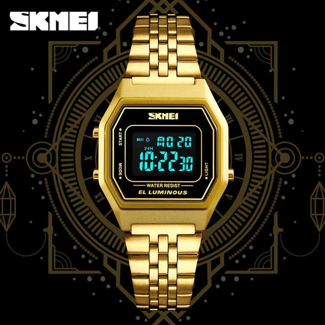 bdbc5a159c03 Relojes para mujer SKMEI 1345 reloj de pulsera deportivo Digital de acero  inoxidable resistente al agua