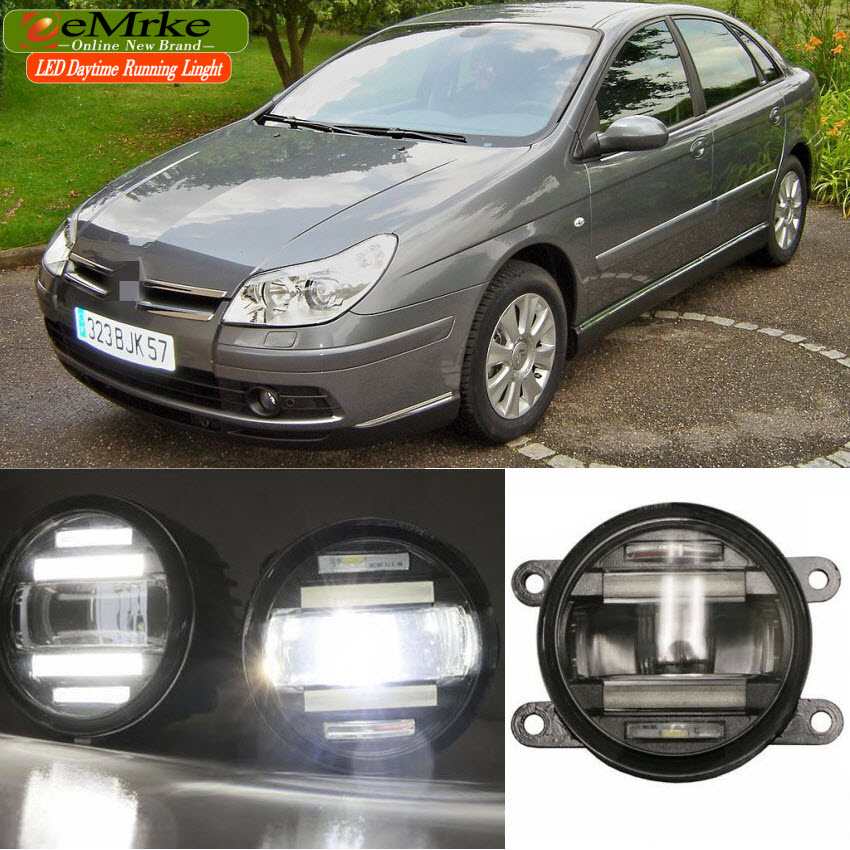 eeMrke Car Styling For Citroen C5 2001-2007 2 in 1 Multifunction LED Fog Lights DRL With Lens Daytime Running Lights eemrke car styling for opel zafira opc 2005 2011 2 in 1 led fog light lamp drl with lens daytime running lights