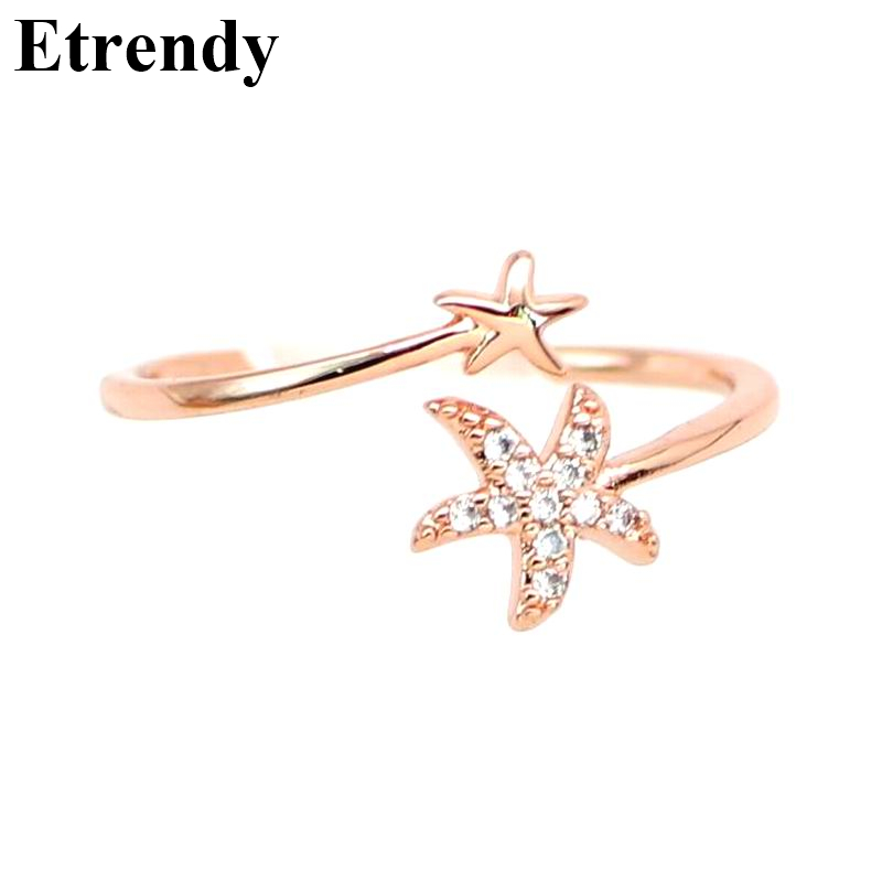 Open Design Rhinestone Starfish Rings For Women Bijoux New Fashion Jewelry Ring Cute Gift Adjustable