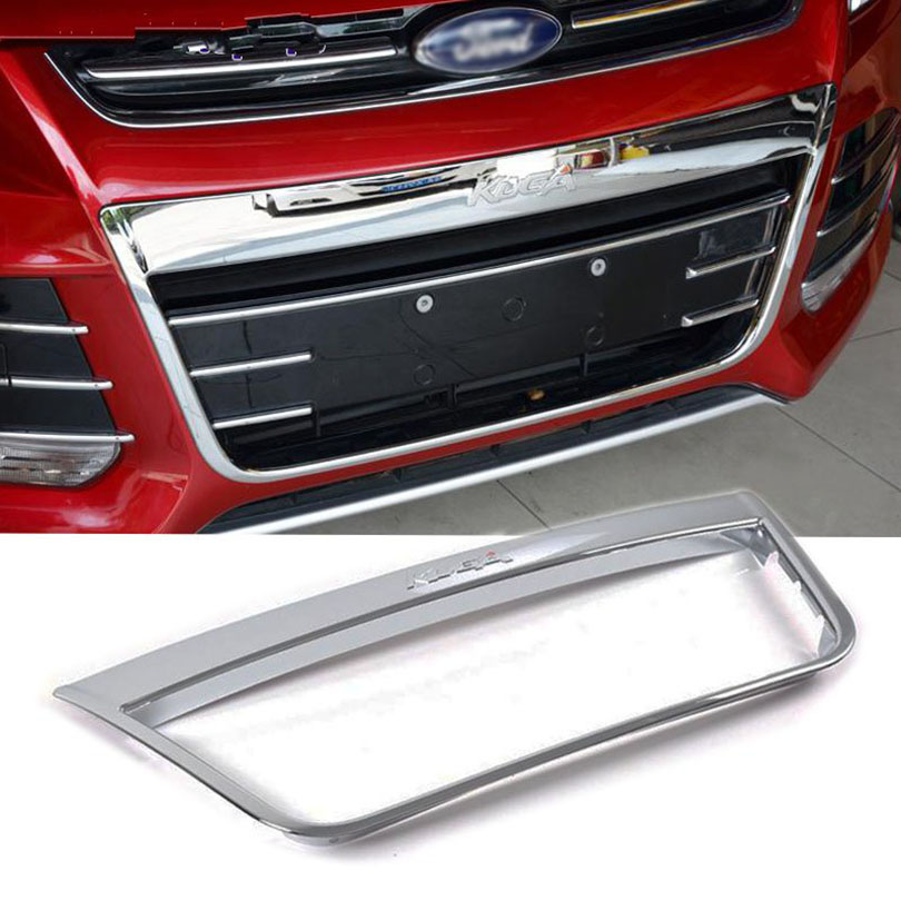 ABS Chrome Front Grille Around Frame Trim Cover for Ford Kuga Escape 2013 2014 2015 jgrt chrome rear window wiper cover trim for 2013 2014 2015 frod escape kuga new high quality chrome stickers trim car styling c