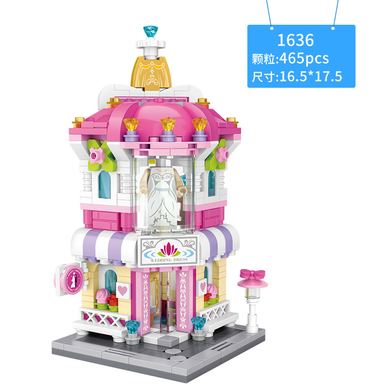 LOZ MINI Blocks City Series assemble toys Street Building blocks pizza icecream flowers store cinema gifts with collection value