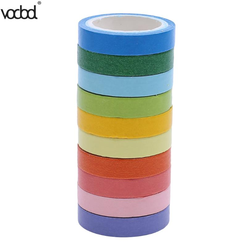 10 pcs Writable Rolls Paper Washi Masking Tape Rainbow Colours Sticky Adhesive