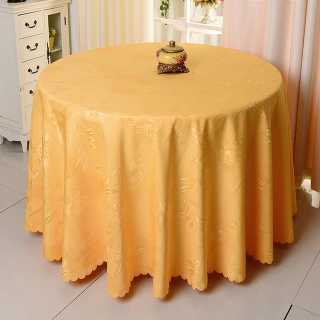 Solid Color Yellow Flowers Embroidery Tablecloths Jacquard Round Polyester  Wedding Table Cloth Hotel Decor Dining Table