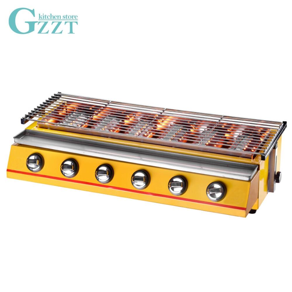 GZZT Infravermelho Grill Sem Fumaça Churrasqueira A Gás GLP Churrasqueira Utensílios de Cozinha Para Casa Ao Ar Livre Do Piquenique de Vidro/Aço Shiled amarelo