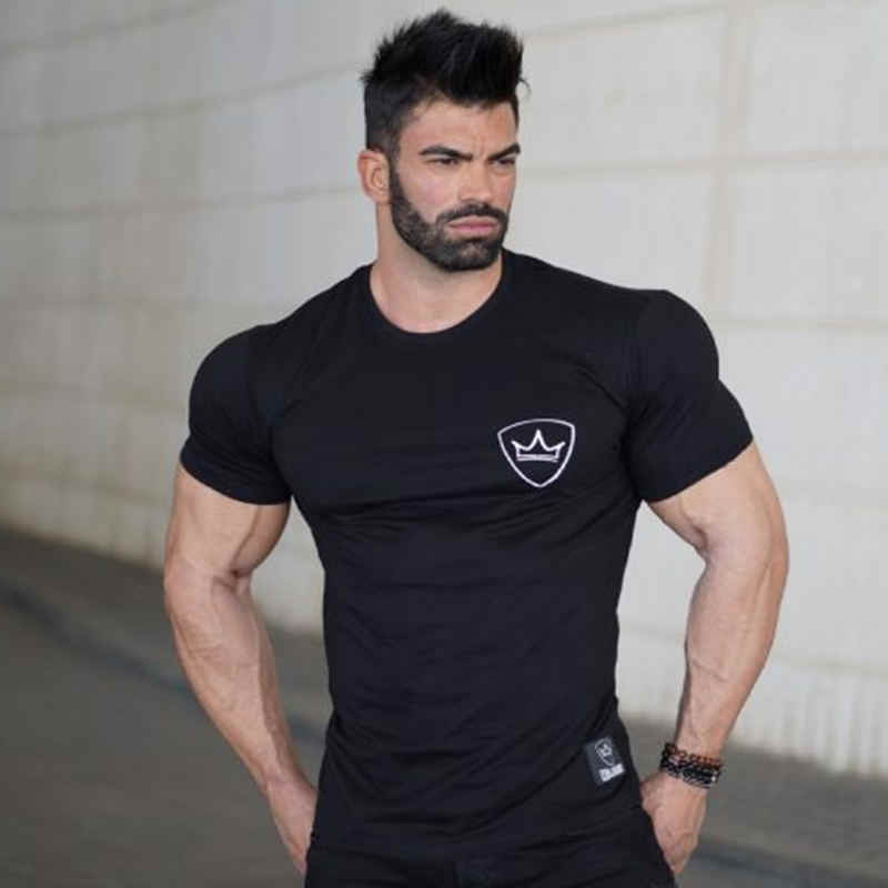 Summer mens Brand cotton t shirt fashion Casual Fitness bodybuilding Short sleeve Black shirts gyms male tee tops clothing