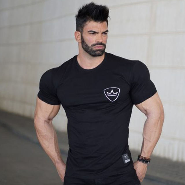 108f87fc3f4 Summer mens Brand cotton t shirt fashion Casual Fitness bodybuilding Short  sleeve Black shirts gyms male tee tops clothing