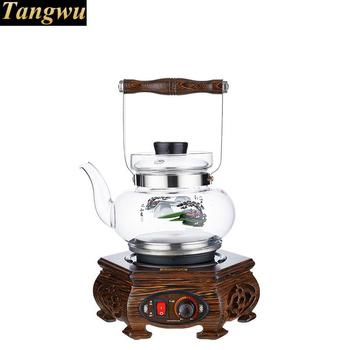An electric kettle with a thick glass