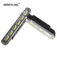 HOPSTYLING 2pcs White Universal DC 12V 24V COB LED Daytime Running Light Super Car DRL Lamp
