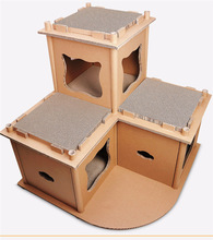 Cat Corrugated Luxury House Tower Cat Grinding Claw Toy Climbing Frame Furniture Cats Scratching Posts Shelf Play House Supplies-in Furniture & Scratchers from Home & Garden