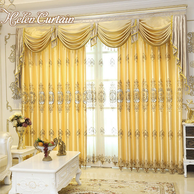 Helen Curtain Set !!Luxury Jacquard Curtains With Valance Europe Style  Voile Curtains For Bedroom