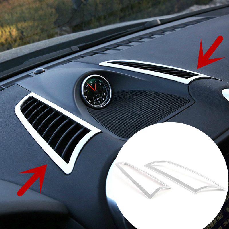 Interior Central Air Vent Outlet Cover Trim For Porsche Cayenne 2011-2015 2pcs for dongfeng peugeot 408 rail for box after the air conditioning outlet 408 central air rear outlet non destructive installation