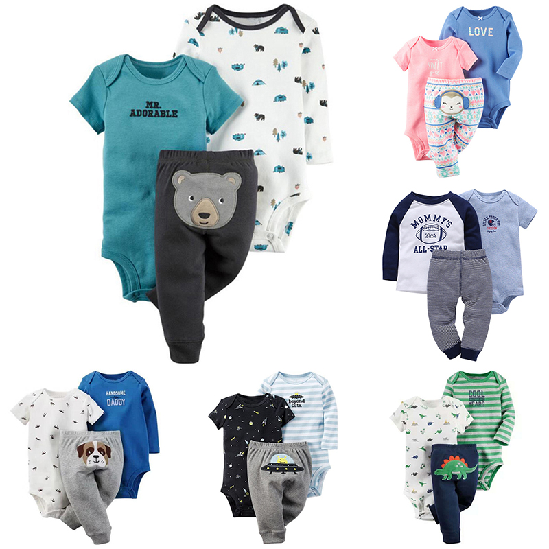 Newborn Clothes sets 3 Piece Baby Boy Clothes Baby Girl Clothing set 100% Cotton New bodysuits pajamas + Infant Pants
