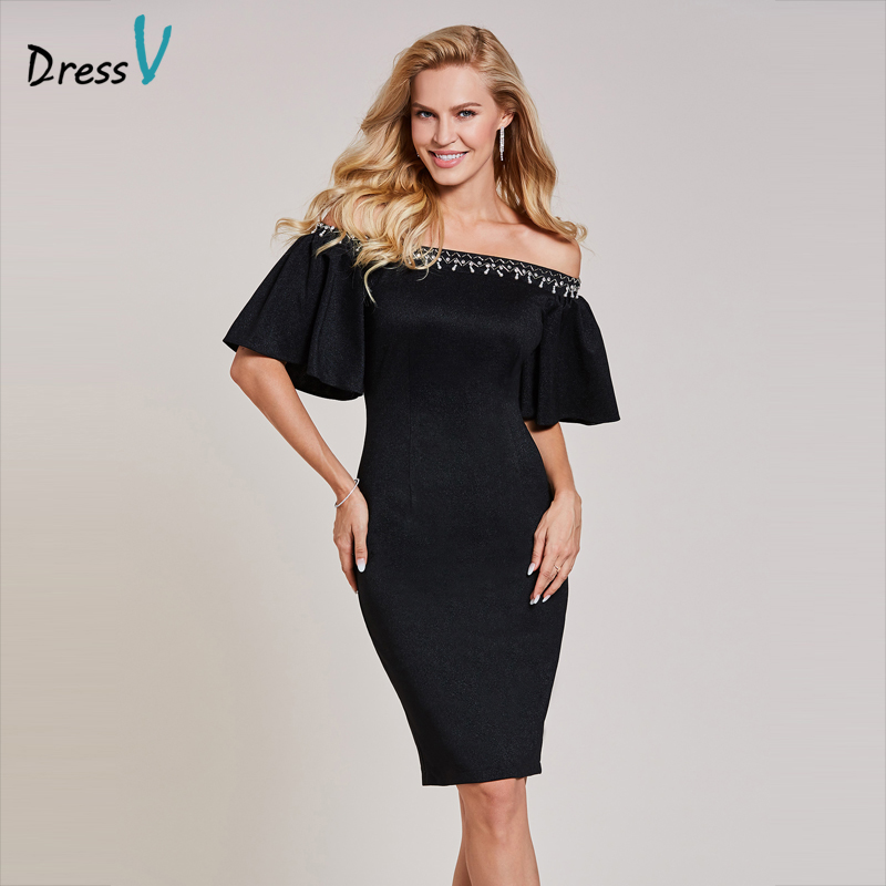 Dressv black   cocktail     dress   cheap off the shoulder knee length half sleeve graduation party   dress   elegant fashion   cocktail     dress