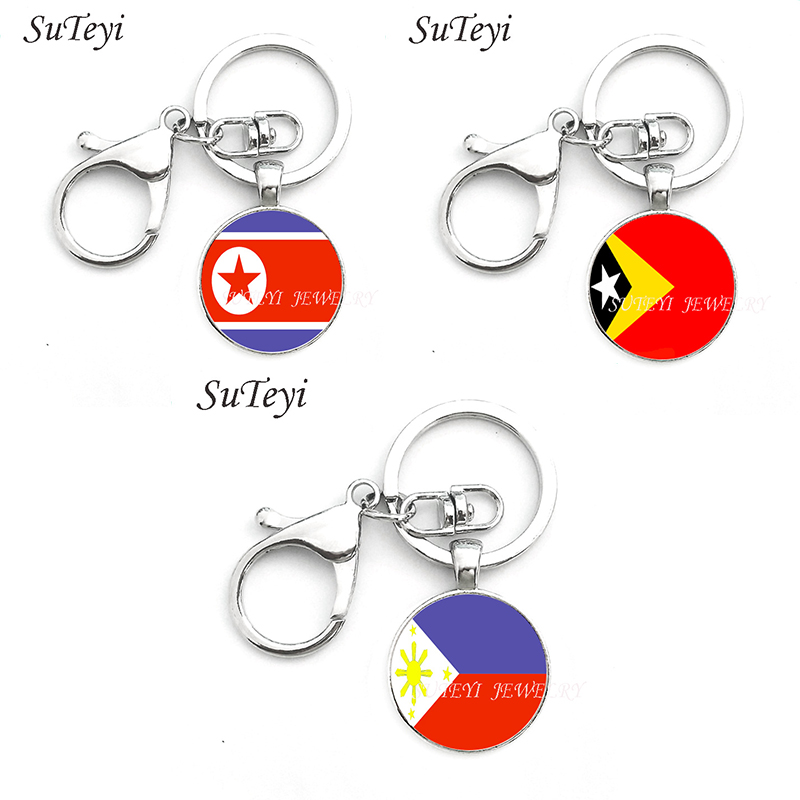 North Korea and East Timor and the Philippines Keychains Charm Car Key Chain Ring Accessories Pendant For Men Women Jewelry Gift