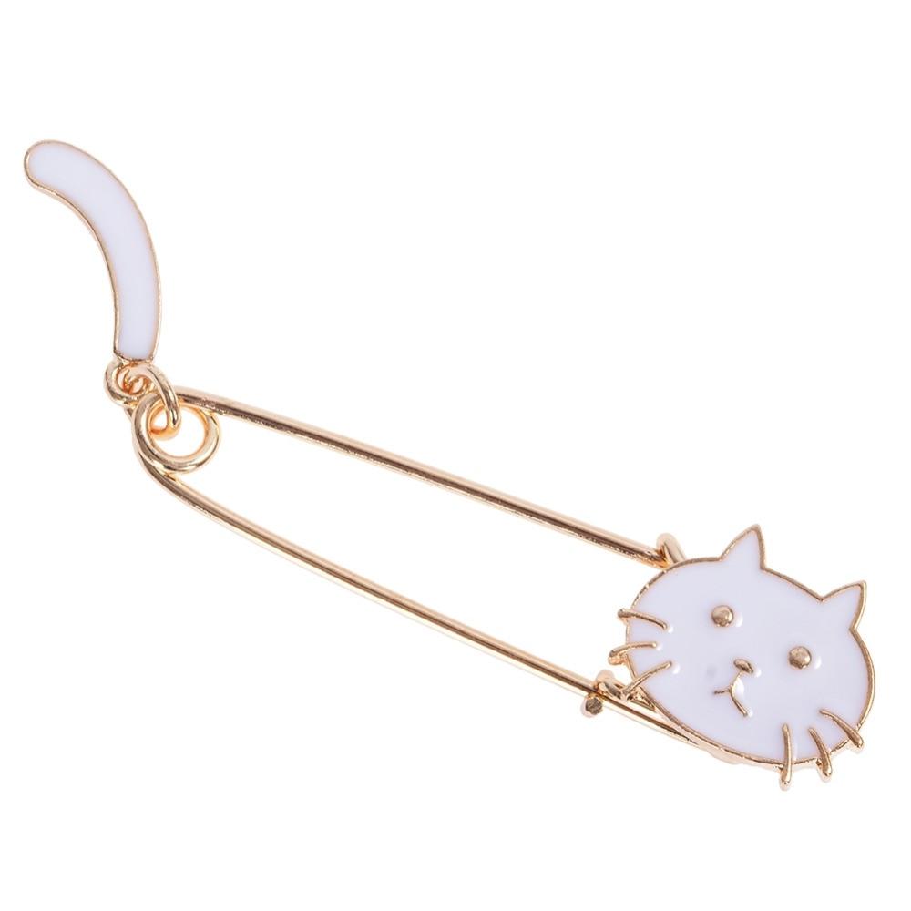 Cute Cartoon Black White Cat Kitten Face Tail Metal Brooch Pins DIY Sweater Pin Badge Gift Jewelry For Women Girl Kids