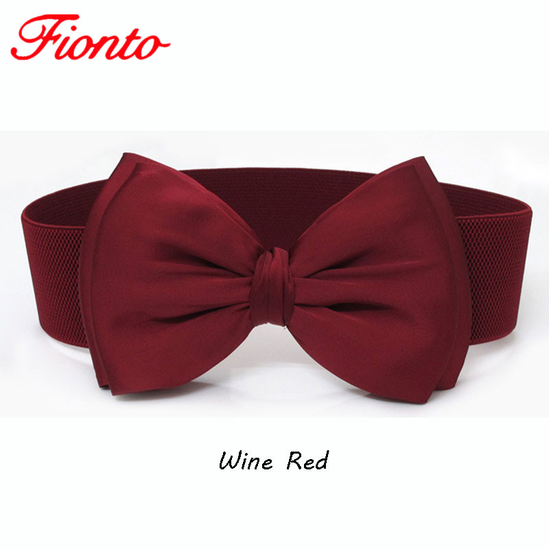 Women's Big Bow-knot Girdle Elasticated Belt Fashion Wide Waist Cover Dress Joker Belt AN1009