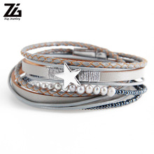 ZG Mini Fresh Water Pearl Beads Women Bracelet Made By Leather Strap with Shinning Star Charm in Silver Color